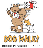 #28994 Cartoon Clip Art Graphic Of A Dogs Walking With Text