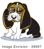 #28997 Cartoon Clip Art Graphic Of A Cute Beagle Dog With Puppy Eyes