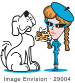#29004 Royalty-Free Cartoon Clip Art Of A Big Spoiled White Dog Waiting As A Woman Serves Him A Tray Of Dog Bone Biscuits