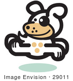 #29011 Royalty-Free Cartoon Clip Art Of A Gleeful Dog Running Forward While Looking Back