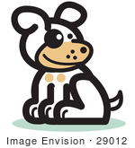 #29012 Royalty-Free Cartoon Clip Art Of A Cute Dog Sitting