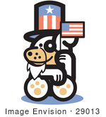 #29013 Royalty-Free Cartoon Clip Art Of A Cute Dog Disguised As Uncle Sam Waving A Flag On Independence Day