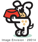#29014 Royalty-Free Cartoon Clip Art Of A Hungry Dog Holding A Red Dog Bowl Waiting To Be Fed