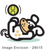 #29015 Royalty-Free Cartoon Clip Art Of A Playful Dog Playing With A Tennis Ball
