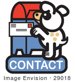 #29018 Royalty-Free Cartoon Clip Art Of A Dog Standing On His Hind Legs To Mail A Letter On A Contact Internet Web Icon