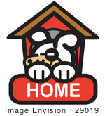 #29019 Royalty-Free Cartoon Clip Art Of A Tired Dog Napping In His Dog House On A Home Internet Web Icon