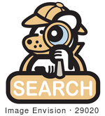 #29020 Royalty-Free Cartoon Clip Art Of A Detective Dog Looking Through A Magnifying Glass On A Search Internet Web Icon