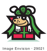 #29021 Royalty-Free Cartoon Clip Art Of A Cute Dog Tied Up In A Bow On A Christmas Present