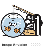 #29022 Royalty-Free Cartoon Clip Art Of A Silly Dog Trying To Catch Goldfish In A Bowl With A Dog Bone On A Hook