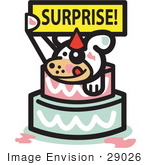 #29026 Royalty-free Cartoon Clip Art of a Cute Dog Holding A Surprise Sign And Popping Out Of A Birthday Cake by Andy Nortnik