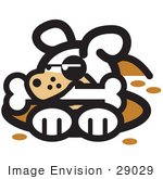 #29029 Royalty-Free Cartoon Clip Art Of A Dog In A Deep Hole Holding A Bone In His Mouth