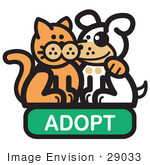 #29033 Royalty-Free Cartoon Clip Art Of An Orange Cat With His Arm Around A Cute White Dog On An Adopt Internet Web Icon