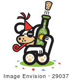 #29037 Royalty-Free Cartoon Clip Art Of A Dog Popping A Cork Off Of A Bottle Of Champagne At A New Year'S Party