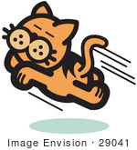#29041 Royalty-Free Cartoon Clip Art Of An Happy Cat Running And Jumping Through The Air