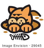 #29045 Royalty-Free Cartoon Clip Art Of An Orange Cat In A Muddy Hole After Digging Out A Fish Bone