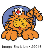 #29046 Royalty-Free Cartoon Clip Art Of An Orange Cat Wearing A White Nursing Hat With A Red Cross On It