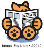 #29049 Royalty-Free Cartoon Clip Art Of A Smart Ginger Cat Sitting And Reading The Newspaper