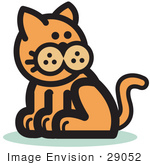 #29052 Royalty-Free Cartoon Clip Art Of A Ginger Cat Sitting And Looking Back