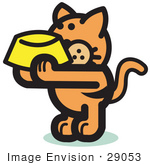 #29053 Royalty-Free Cartoon Clip Art Of A Hungry Orange Cat Holding Up A Yellow Food Dish Waiting To Be Fed