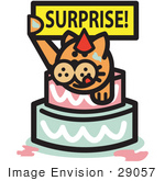 #29057 Royalty-Free Cartoon Clip Art Of A Ginger Cat Holding A Surprise Sign And Popping Out Of A Birthday Cake