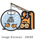 #29058 Royalty-Free Cartoon Clip Art Of An Orange Cat Trying To Fool Goldfish In A Bowl By Using A Mouse As A Fishing Lure