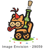#29059 Royalty-Free Cartoon Clip Art Of An Orange Cat Wearing A Party Hat Blowing A Party Blower And Popping A Cork Off Of A Bottle Of Champagne