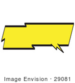 #29081 Royalty-Free Cartoon Clip Art Of A Lightning Shaped Word Balloon With A Yellow Background And Bold Black Outline