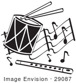 #29087 Royalty-Free Black And White Cartoon Clip Art Of Drumsticks On A Drum And A Flute Over Musical Notes