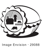 #29088 Royalty-Free Black And White Cartoon Clip Art Of A Easter Egg With A Farm Scene Of Cows Grazing In A Pasture Near A Barn