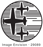 #29089 Royalty-Free Black And White Cartoon Clip Art Of Three Airplanes Speeding Through The Sky During An Air Show On Independence Day