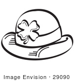 #29090 Royalty-Free Black And White Cartoon Clip Art Of A St Paddy'S Day Hat With A Clover On It