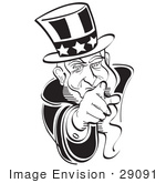 #29091 Royalty-Free Black And White Cartoon Clip Art Of Uncle Sam Pointing Outwards