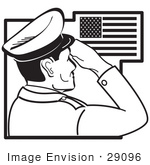 #29096 Royalty-Free Black And White Cartoon Clip Art Of A Military Man Saluting The American Flag On The Fourth Of July