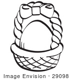 #29098 Royalty-Free Black And White Cartoon Clip Art Of An Egg In A Brown Easter Basket With A Pink Bow On The Handle by Andy Nortnik