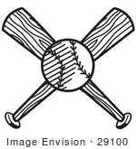 #29100 Royalty-free Black And White Cartoon Clip Art of a Baseball Over Two Crossed Baseball Bats by Andy Nortnik