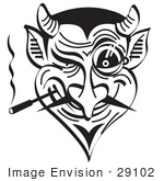 #29102 Royalty-Free Black And White Cartoon Clip Art Of An Evil And Greedy Devil Smoking And Grinning