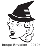 #29104 Royalty-Free Black And White Cartoon Clip Art Of A Pretty Woman Singing And Wearing A Pointy Black Witch Hat On Halloween