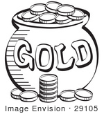 #29105 Royalty-free Black and White Cartoon Clip Art of a Stack Of Coins Near A Pot Of Leprechaun's Gold by Andy Nortnik