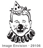 #29106 Royalty-Free Black And White Cartoon Clip Art Of A Jolly Freckled Boy With A Clown Nose Party Hat And Collar Laughing