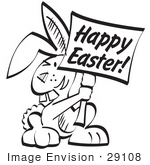 #29108 Royalty-free Black and White Cartoon Clip Art of a Buck Toothed Bunny Rabbit Holding a Happy Easter Sign by Andy Nortnik