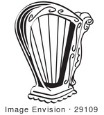 #29109 Royalty-Free Black And White Cartoon Clip Art Of A Harp Instrument Over A White Background