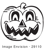 #29110 Royalty-Free Black And White Cartoon Clip Art Of An Evil Carved Halloween Pumpkin