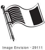 #29111 Royalty-Free Black And White Cartoon Clip Art Of The Flag Of Ireland Waving In The Wind On A Pole