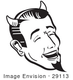 #29113 Royalty-Free Black And White Cartoon Clip Art Of A Man Wearing Horns And A Goatee Laughing Devilishly On Halloween