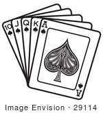 #29114 Royalty-free Black and White Cartoon Clip Art of a Hand Of Cards Showing A 10, Jack, Queen, King And Ace Of Spades by Andy Nortnik