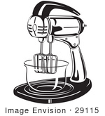#29115 Royalty-Free Black And White Cartoon Clip Art Of An Electric Mixer In A Kitchen