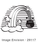 #29117 Royalty-Free Black And White Cartoon Clip Art Of A Pot Of Gold At The End Of A Rainbow