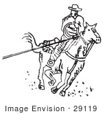 #29119 Royalty-Free Black And White Cartoon Clip Art Of A Roper Cowboy On A Horse Using A Lasso To Catch A Cow Or Horse