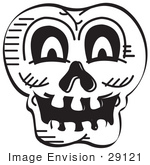 #29121 Royalty-Free Black And White Cartoon Clip Art Of A Scary Halloween Skull