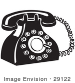 #29122 Royalty-free Black and White Cartoon Clip Art of an Old Fashioned Rotary Landline Telephone by Andy Nortnik